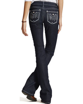 Ariat Women's Ruby Cascade Flap Bootcut Jeans, Blue, hi-res