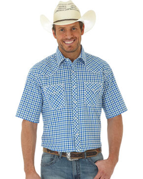 Wrangler 20X Men's Short Sleeve Plaid Shirt, Blue, hi-res
