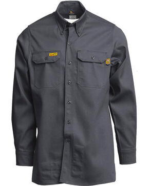 Lapco Men's FR 6oz. Gold Label Uniform Shirt - Tall, Grey, hi-res