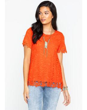 Polagram Women's Floral Lace Short Sleeve Shirt, Bright Orange, hi-res
