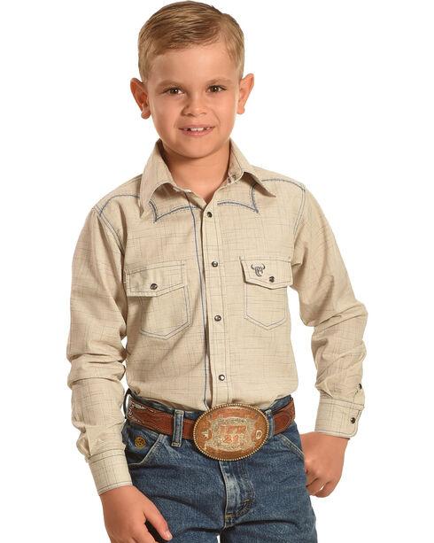 Cowboy Hardware Boys' Khaki Burlap Print Shirt , Khaki, hi-res