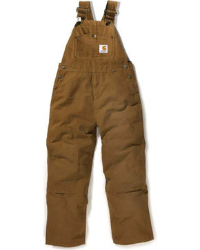 Carhartt Boy's Duck Washed Bib Overalls, Tan, hi-res