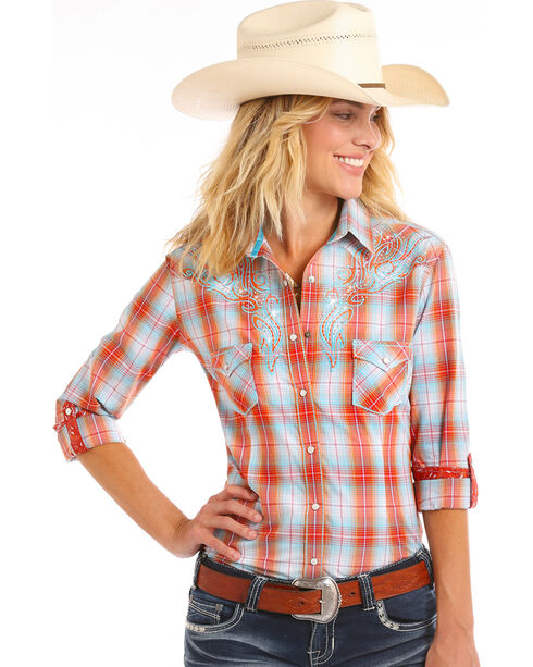 Rough Stock by Panhandle Women's Tribal Embroidery Ombre Plaid Shirt, Orange, hi-res