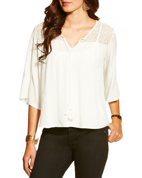 Ariat Women's Garland Tunic, White, hi-res