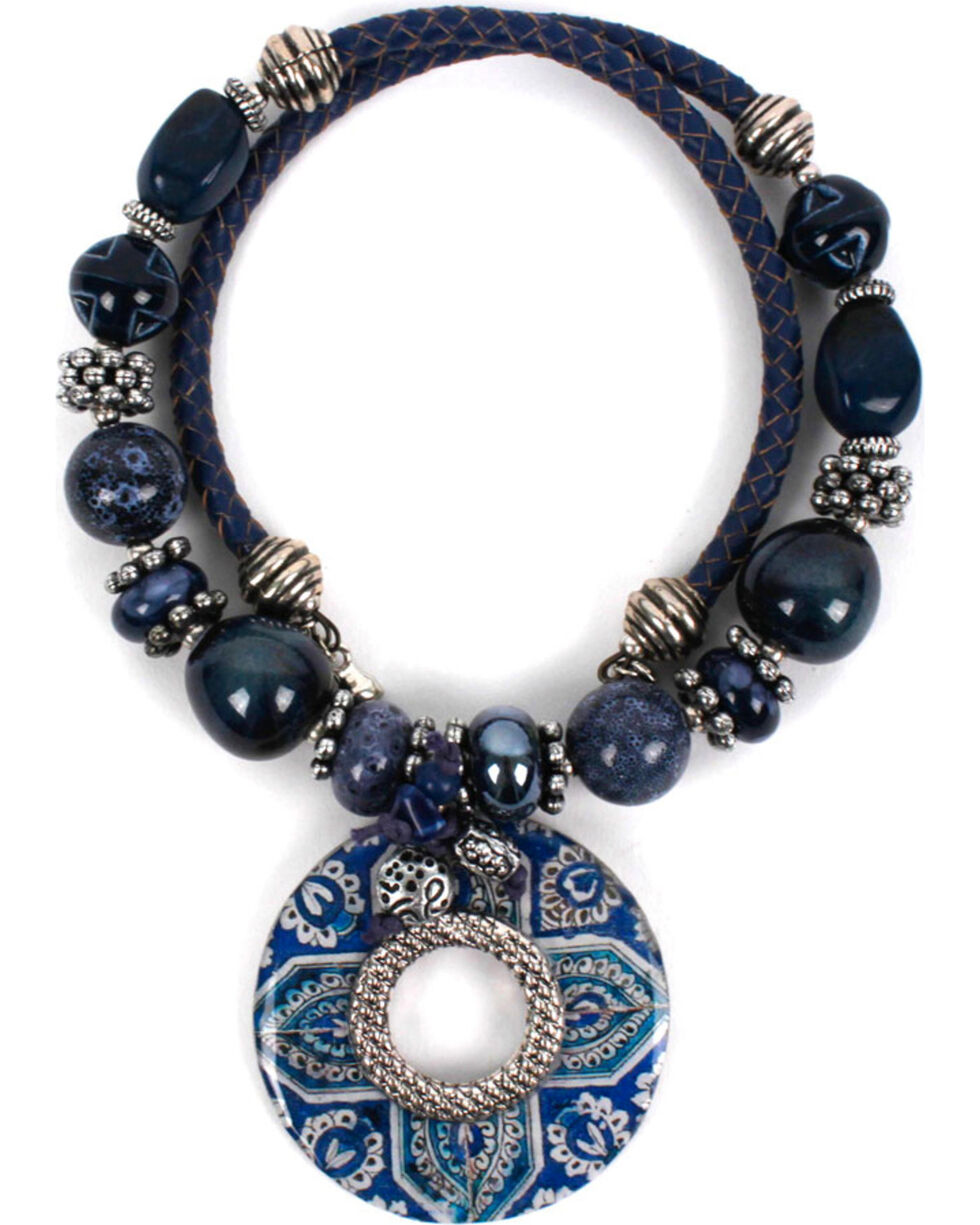 Treska Women's Beaded Coil Pendant Necklace, Blue, hi-res