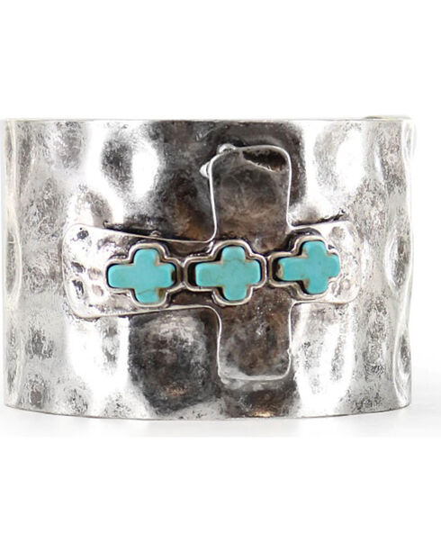 Shyanne® Women's Antiqued Cross Cuff Bracelet, Silver, hi-res