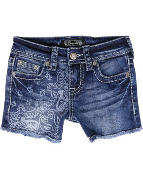 Shyanne® Girl's Paisley Acid Wash Denim Shorts, Blue, hi-res