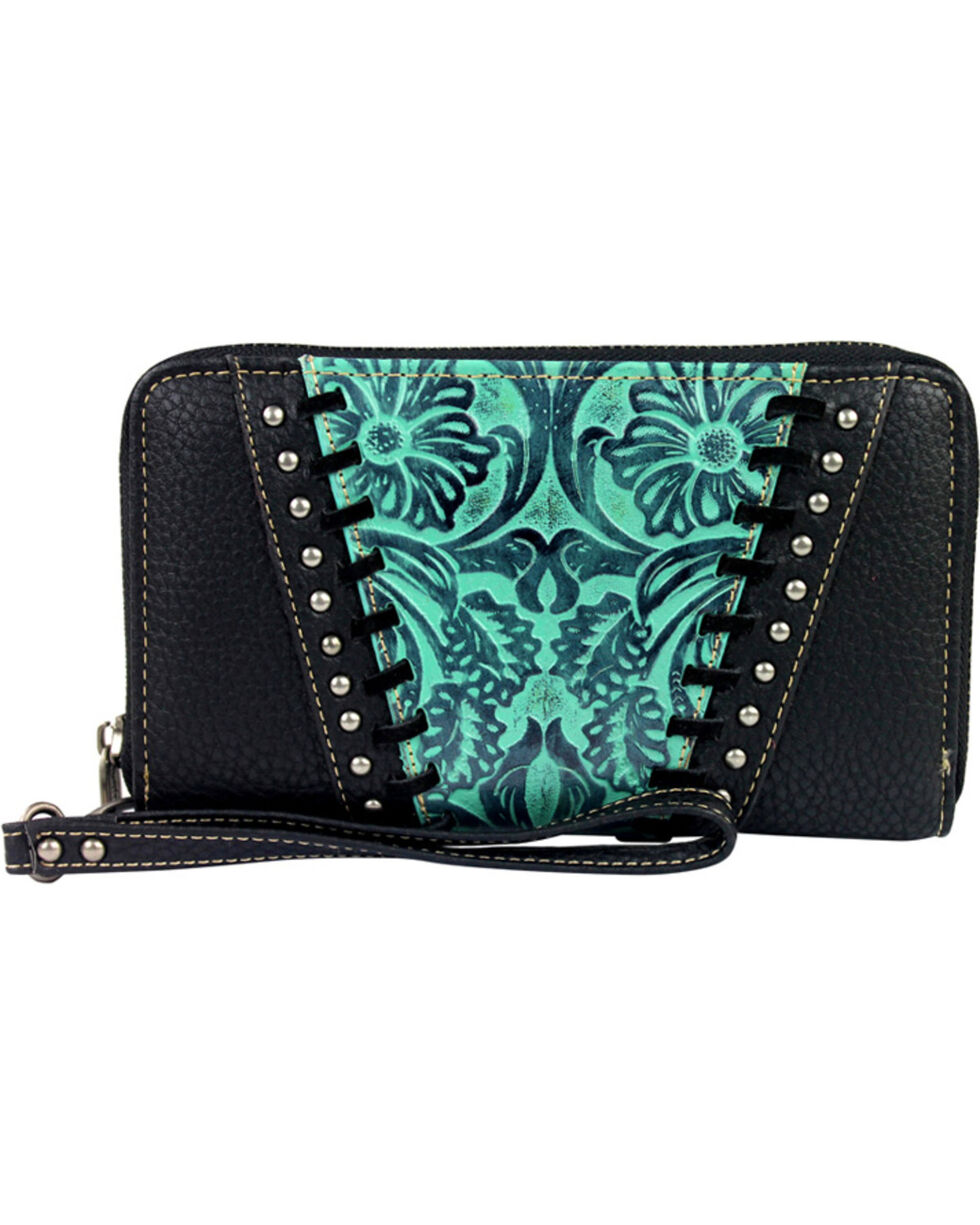 Montana West Trinity Ranch Turquoise Tooled Design Wallet, Turquoise, hi-res