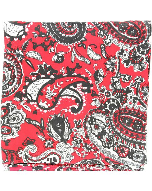 Red & Black Paisley Silk Wild Rag, Red, hi-res