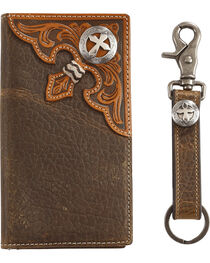 Cody James Men's Leather Concho Wallet with Key Fob Gift Set, , hi-res