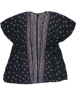Angie Women's Tapestry Patterned Open Front Kimono, Black, hi-res