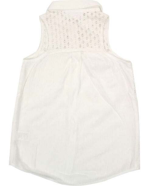 Shyanne® Girls' Sleeveless Lace Top, Ivory, hi-res