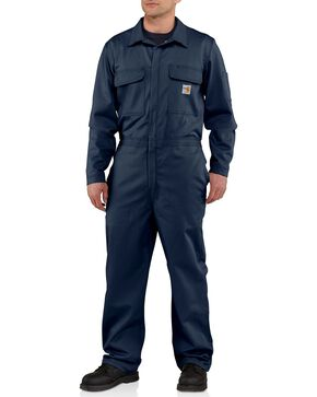 Carhartt Men's Flame Resistant Traditional Twill Coveralls, Navy, hi-res