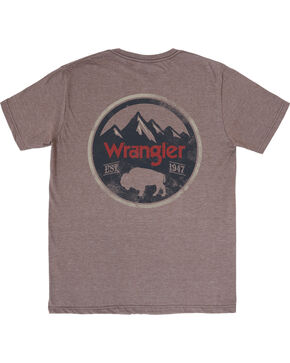 Wrangler Men's Short Sleeve Buffalo Tee, Brown, hi-res