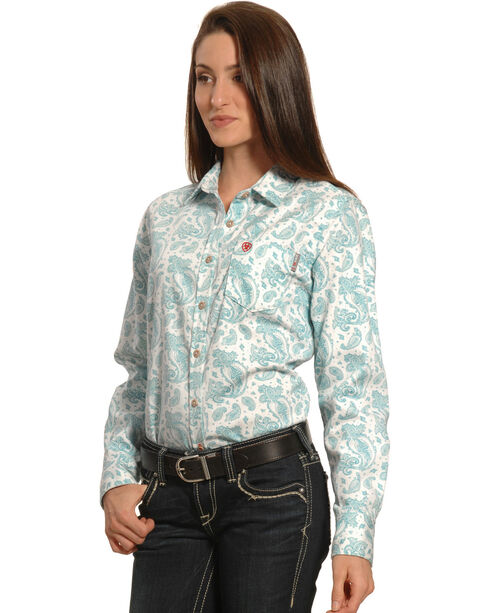 Ariat Women's FR Crane Long Sleeve Work Shirt, Blue, hi-res