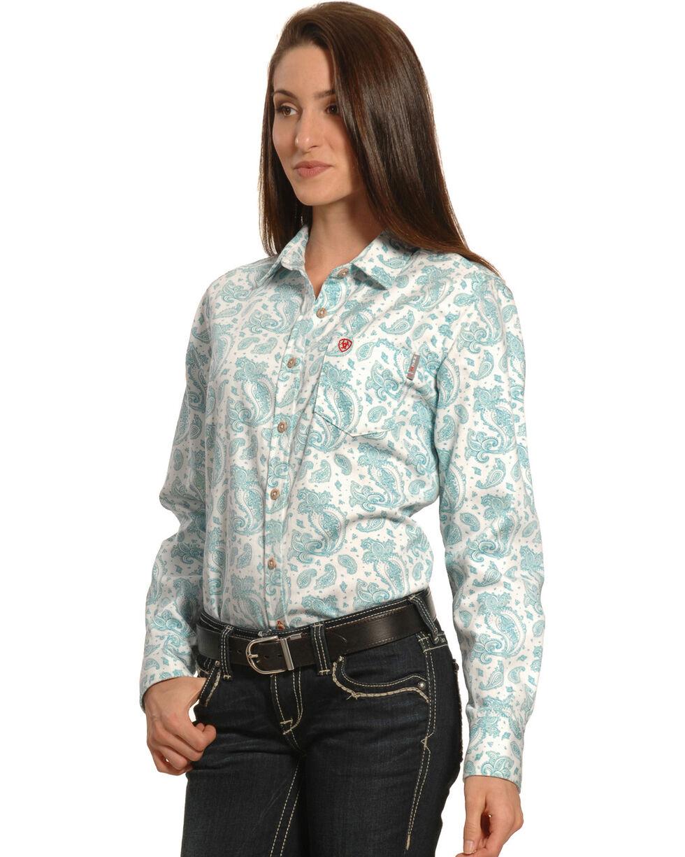 Ariat Women's FR Crane Long Sleeve Work Shirt, Blue, hi-res