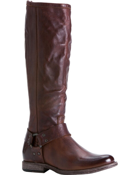 Frye Women's Phillip Harness Riding Boots - Extended Calf, Dark Brown, hi-res