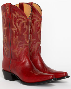 "Shyanne® 12"" Red Leather Snip Toe Western Boots, Red, hi-res"