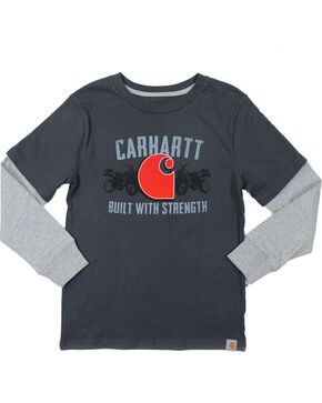 "Carhartt Boys' ""Built With Strength"" Layered Long Sleeve Tee, Grey, hi-res"