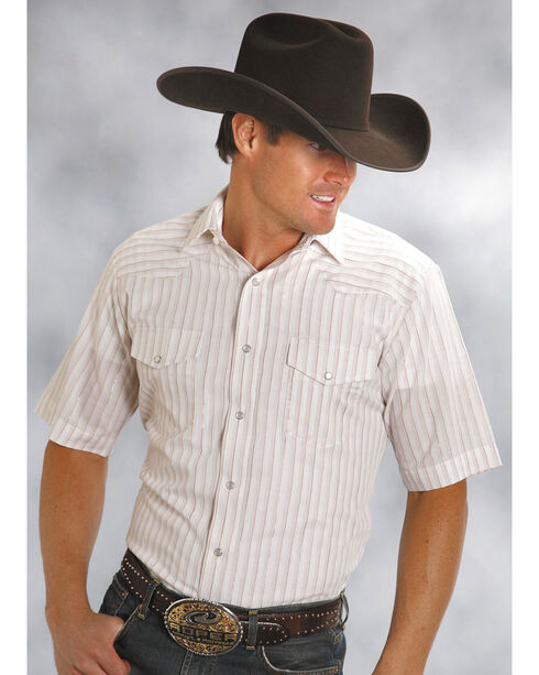 Roper Men's Classic Tone On Tone Western Shirt - Extended Sizes , White, hi-res