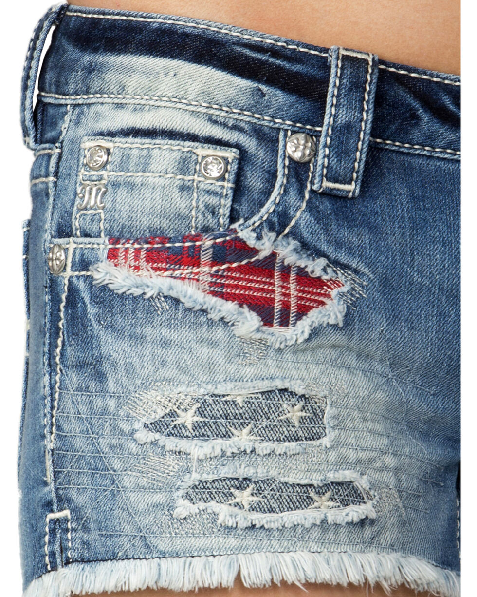 Miss Me Women's Americana Frayed Shorts, , hi-res