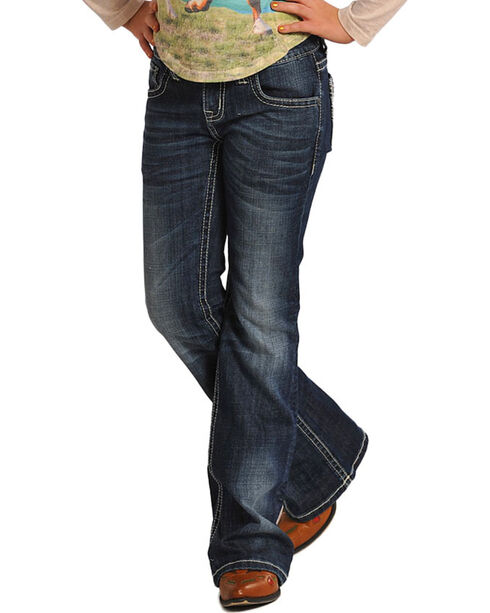 Rock & Roll Cowgirl Girls' Classic Boot Cut Jeans, Indigo, hi-res