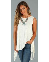 Wrangler Women's Fringe Back Sleeveless Shirt, , hi-res