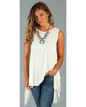 Wrangler Women's Fringe Back Sleeveless Shirt, Ivory, hi-res