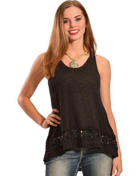 Jody of California Women's Crochet Tank Top, Black, hi-res