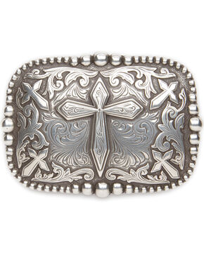 Cody James® Men's Cross Rectangle Belt Buckle, Silver, hi-res