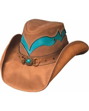 Bullhide Women's Cascade Range Leather Hat, Camel, hi-res