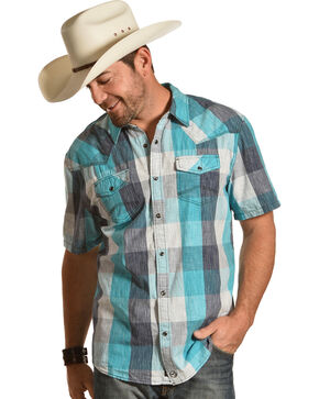 Moonshine Spirit Men's Haggard Large Check Print Short Sleeve Shirt, Turquoise, hi-res