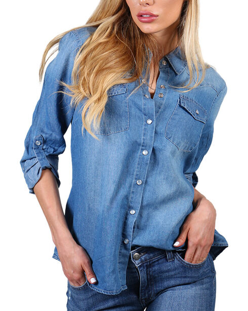 Henna Women's Crochet Back Long Sleeve Western Shirt, Blue, hi-res