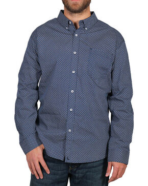 Cody James® Men's Dot Patterned Long Sleeve Shirt, Navy, hi-res