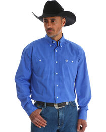 Wrangler Men's Blue George Strait Mini Check Shirt , Blue, hi-res