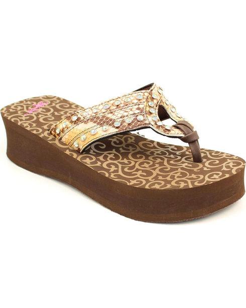 Blazin Roxx Janis Flip Flops, Brown, hi-res