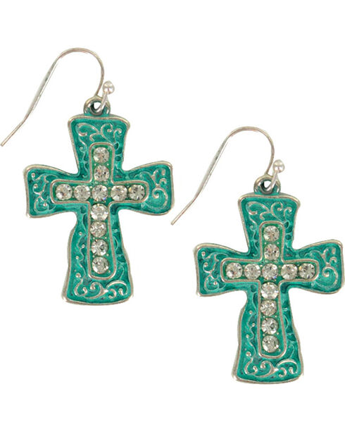 Shyanne® Women's Filigree Cross Earrings, Silver, hi-res