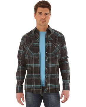 Wrangler Retro Men's Distressed Plaid Long Sleeve Shirt, Black, hi-res
