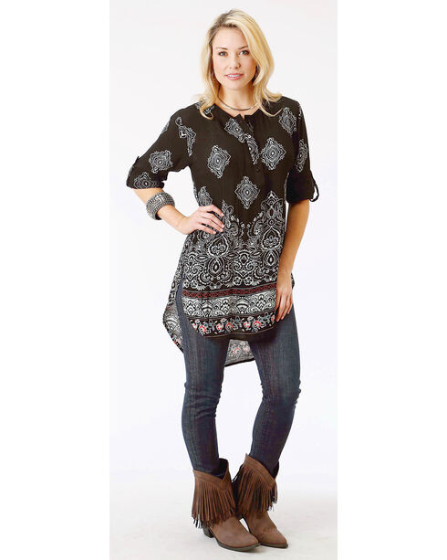 Roper Women's Black Long Sleeve Print Tunic, Black, hi-res