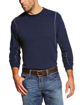 Ariat Men's FR Crew Neck Long Sleeve Shirt, Navy, hi-res
