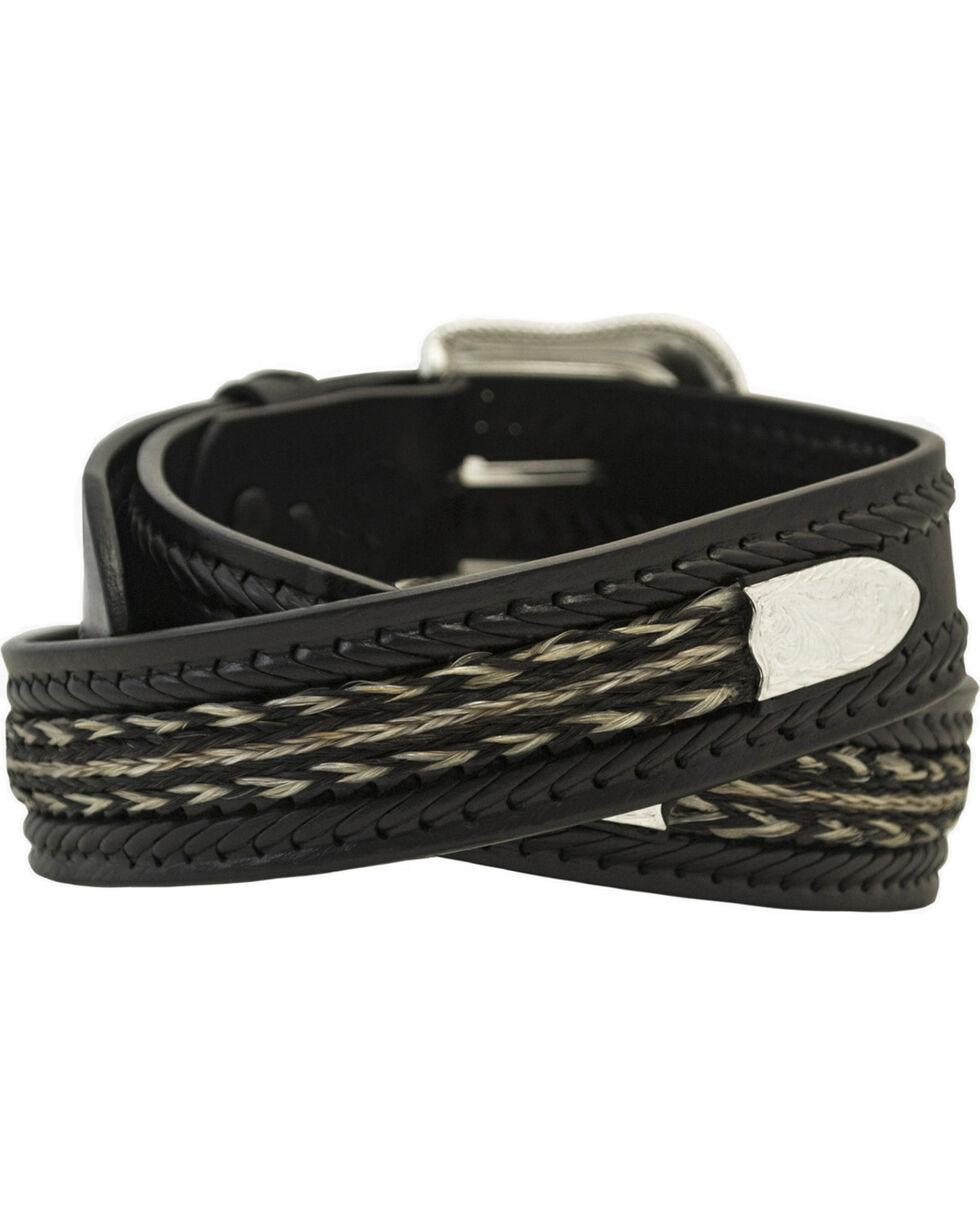 Western Express Men's Black Horsehair Band Leather Belt , Black, hi-res