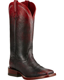 Ariat Women's Red Ombre Lizard Print Western Boots, , hi-res