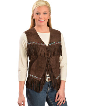 Scully Western Suede Fringe Vest, Chocolate, hi-res