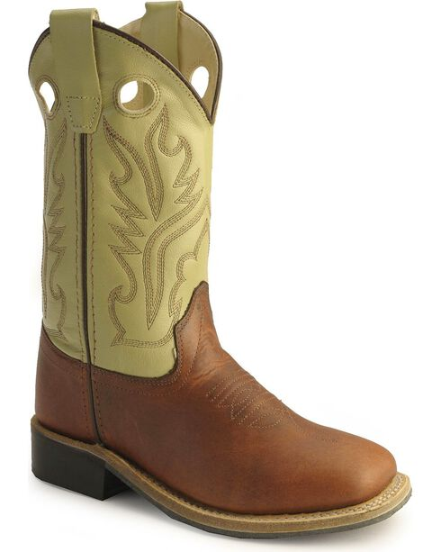 Old West Children Boys' Rust Calfskin Cowboy Boots - Square Toe, Rust, hi-res