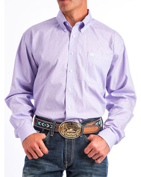 Cinch Men's Light Purple Print Long Sleeve Button Down Shirt, Light Purple, hi-res