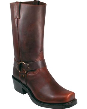 "Boulet Men's 12"" Broad Square Toe Brass Harness Boots, Brown, hi-res"