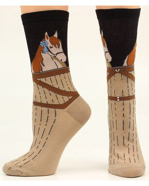 Ariat Horse Stable Crew Socks, Black, hi-res