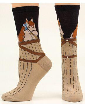 Ariat Horse Stable Crew Socks, Black, hi-res