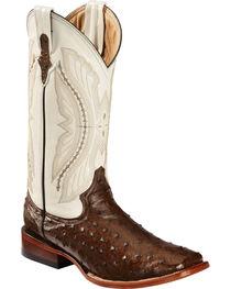 Ferrini Full Quill Ostrich Cowboy Boots - Wide Square Toe, , hi-res