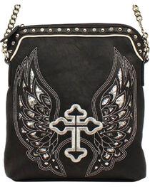 Blazin Roxx Silver Cross/Wings Messenger Bag, , hi-res